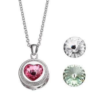 Charming Inspirations Interchangeable Crystal Heart Pendant Necklace Set - Made with Swarovski Elements (White)
