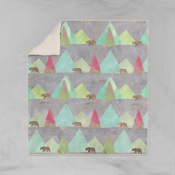 Modern Rustic Bears in Forest Sherpa Throw Blanket