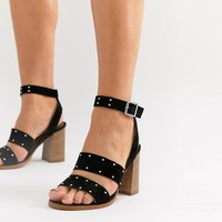 ASOS DESIGN Tessie Wide Fit Suede Studded Sandals at asos.com