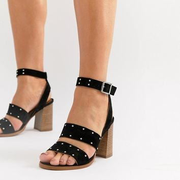 1270f35350cb ASOS DESIGN Tessie Wide Fit Suede Studded Sandals at asos.com