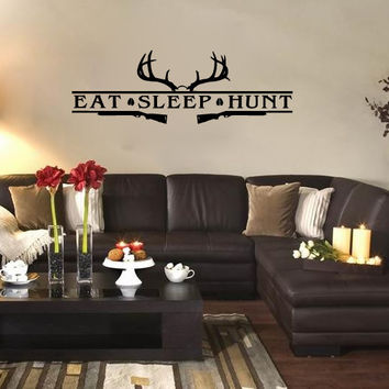 Eat Sleep Hunt with Deer Antlers and Rifles Vinyl Wall Words Decal Sticker Graphic