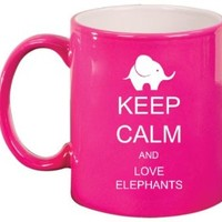 Keep Calm and Love Elephants Ceramic Coffee Tea Mug Cup Hot Pink