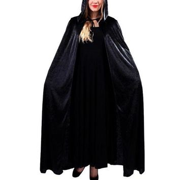 ESBN3C Halloween Costume Hooded Death Elf Magician Witch Cloak Masquerade Party Cosplay Clothes for Adul Red Blue Black Purple