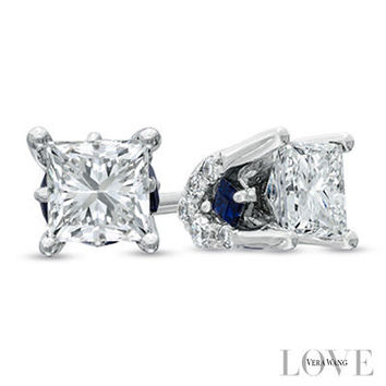 Vera Wang LOVE Collection 1/2 CT. T.W. Princess-Cut Diamond Frame Stud Earrings in 14K White Gold - View All Earrings - Zales