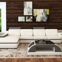 Divani Casa 6122C Modern White and Black Bonded Leather Sectional Sofa