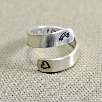 Kokopelli sterling silver fertility wrap ring