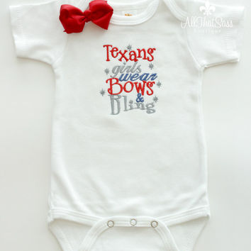 Baby Girls Houston Texans Bodysuit or Tee and Bow - Baby Shower Gifts - Football - Bows and Bling - NFL - Boutique - Embroidered - Texas