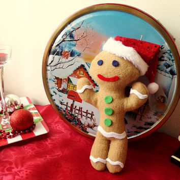 1 Gingerbread Cookie Plush (small size doll, fleece and felt Christmas Plushie)
