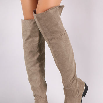 Bamboo Suede Almond Toe Cuffed Riding Over-The-Knee Boots