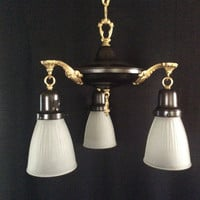 Vintage Victorian Pan Chandelier NeoClassical Brass Arms 3 Frosted Shades 1910s