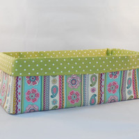 Lovely Multi Colored Floral and Paisley Fabric Basket For Storage Or Gift Giving