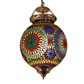 pendant light glass mosaic  - Ø 25 cm / 9.84 inch - multi color -  traditional Turkish design