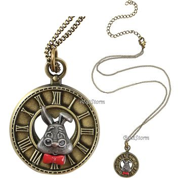 Licensed cool NEW Disney Alice in Wonderland White Rabbit  Clock Face Pendant Necklace NEW