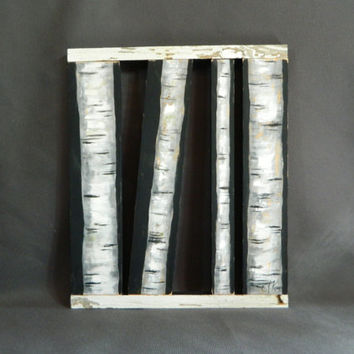 Handpainted White Birch individual slats, Sculpture, Black Background, reclaimed barnwood pallet art, rustic and shabby chic