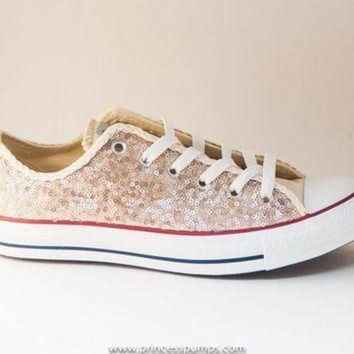 ICIKGQ8 champaign gold sequin canvas converse canvas low top sneakers shoes