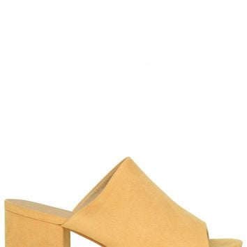 Say My Name Block Heeled Mules In Mustard Faux Suede