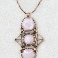 AEO Rose Quartz Art Deco Pendant , Gold