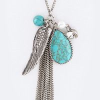 Feather & Turquoise Mix Charms Necklace - Silver