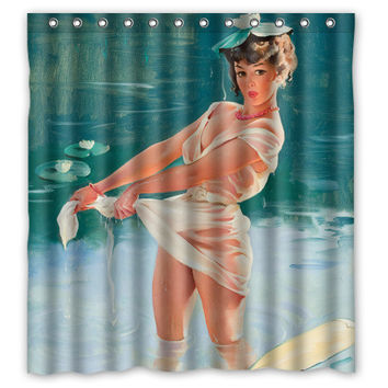 """Pin-up Girl Dabble"" Waterproof Shower Curtain"