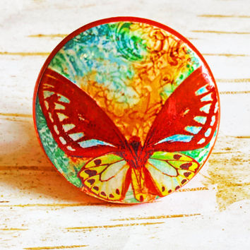 Butterfly Knobs Drawer Pulls, Green Blue Orange Yellow Abstract Cabinet Pull Handles, Garden Dresser Knob Pulls, Made To Order