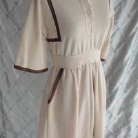 "ON SALE 70s Dress //  Vintage 1970's Cream and Brown Dress by Pedestal Originals Size M 27"" waist"