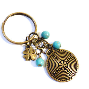 Turquoise Labyrinth Keychain Bag Charm Yoga Accessories Gypsy Soul Peace Sign Party Favors Gifts For Her Christmas Stocking Stufffer