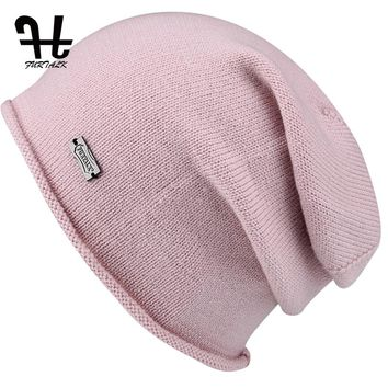 FURTALK Wool Cashmere Autumn Winter Women Hat Knit Skullies Beanies Slouch Braided Winter Hat For Women