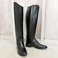 Womens English Riding boots size 6.5 EU 37.5 / Tall leather boots / Equestrian / black  genuine leather /  knee high boots / Made in USA