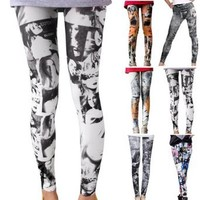 Rock N Roll Vintage Retro Punk Newspapers Print Funky Leggings Stretch Tight Pants Slim Trousers: Amazon.co.uk: Clothing