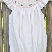 Smocked Romper with Angel Sleeves with Classic Smocking in Pink and White