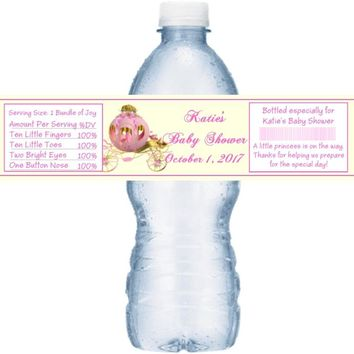 21 Princess Baby Shower Water Bottle Labels Carriage1
