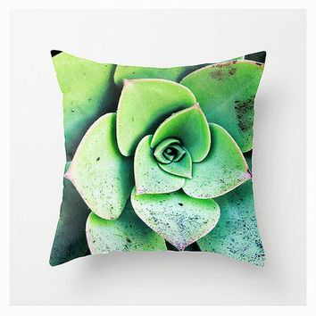 Throw Pillow Cover, Santa Barbara Cactus, 16x16, 18x18, 20x20, Home Décor, Decorative, Garden, Landscape, Green, Nature, Floral, Etsy ArtBJC