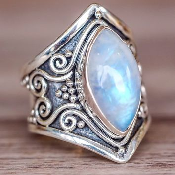 Large Antique Boho Jewelry 925 Solid Sterling Silver Natural Gemstone Marquise Moonstone Personalized Ring Wedding Engagement Ri