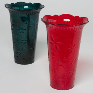 christmas vase crystal cut green, red 7.5h x 5d 96g Case of 24