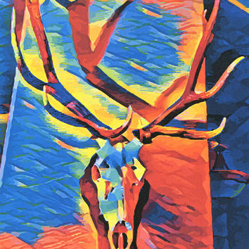 abstract Bull Elk Skull Art Print animal skeleton animal abstract nature wildlife hunting pop artwork