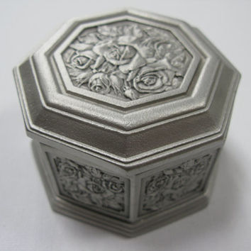 Pewter Vintage Trinket Stow - Pewter Trinket Box - Pewter Jewelry Box - Pewter Jewellery Box - Hexagonal Jewellery Box - Trinket Dish