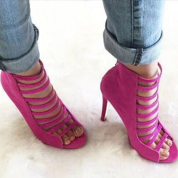 Pink Suede Leather Open Toe Sandals Rhinestone Straps High Heels Cage Stiletto