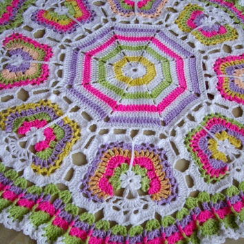 ON SALE - 10% OFF Butterflies Crochet Blanket...Granny Squares Baby Afghan...Colorful Newborn Blanket...
