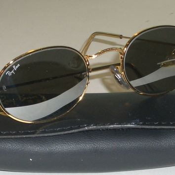 VINTAGE B&L RAY BAN FULL MIRROR G15 GOLD PLATED WIRE OVAL AVIATOR SUNGLASSES NEW
