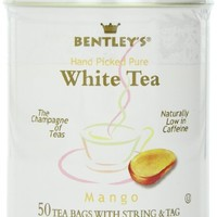 Bentley's Mango White Tea, 50 Count Tin,  2.8  Oz