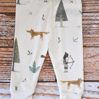 organic baby leggings, baby pants, baby leggins, toddler pants, organic toddler leggings, woodland, fox, indian, arrows, organic baby