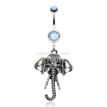 Antique Ganesha Elephant Iridescent Sparkle Belly Button Ring (Blue)