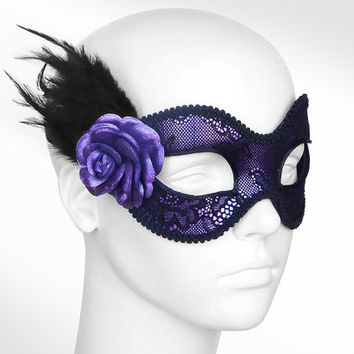 Metallic Purple And Black Lace Masquerade Mask  -  Venetian Style Mardi Gras Feather Mask With Rose