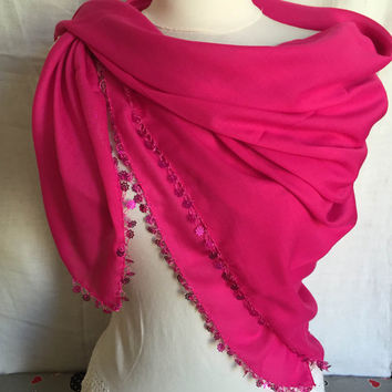 Pink Fushia Scarf For Women Crocheted Pink Shawl Ethnic Turkish Modern Square Scarf With Sequins Mother's Day Perfect Gift For Her