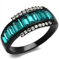 Black Stainless Steel Blue Zircon Crystal Ring