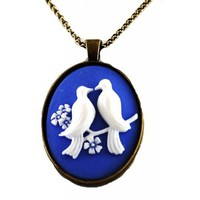 "Beautiful Vintage Look Aves Designs Handmade Blue and White Birds on a Branch Cameo Pendant Necklace on 22"" Chain Antique Gold Tone Handmade in the USA"