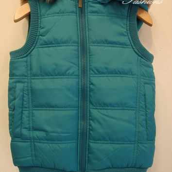 Teal Kids Hooded Puffer Vest