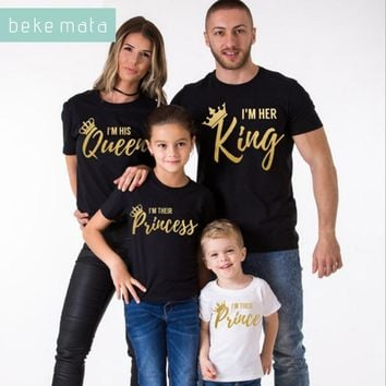 Cool BEKE MATA Family Matching Clothes 2018 Summer New Fashion Father Son T-shirt King Queen Family Look Mother Daughter Clothing SetAT_93_12