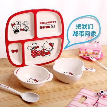 Hello Kitty Children's Feeding Tableware Set Sub-grid Plate Baby Bowl Spoon Plate Cartoon Cute Dinner Set At School Home