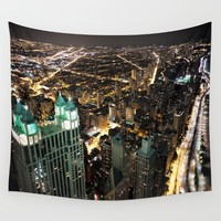 Chicago City Skyline Wall Tapestry by CityLifeCountryLiving